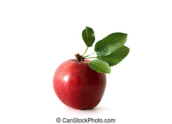 Apple with green leaves on white