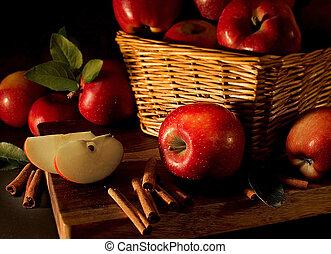 vermelho, maçãs