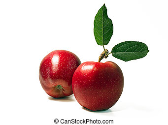 Two apples - Two red apples on white