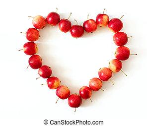 Apple heart on white