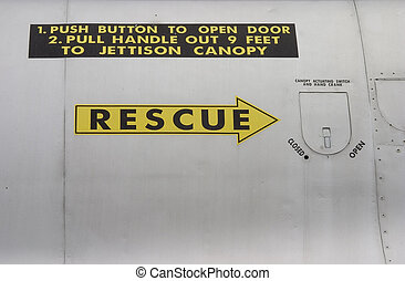 Rescue Arrow - A rescue arrow painted on the side of a jet...