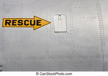 Rescue Arrow 2 - A rescue arrow painted on the side of a jet...