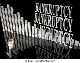 Bankruptcy, failing business, outcry. - 3D illustration,...