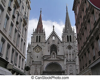 Gothic church 1 - Gothic church of St Nizier, Lyon France,...