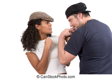 Diverse couple; Mock fight - Pretty couple in a mock fight