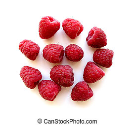 Raspberries on white 1 - Fresh red raspberries isolated on...