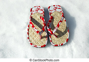Sandals in the Snow - Summer flip flop sandals in the white...