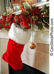 Christmas Stocking - The stockings were hung on the...