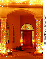 Christmas Entry - Christmas lights at entry with two...
