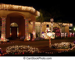 Christmas Decorated House - Christmas Lit House - 3/4 front...