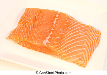 Salmon fillet on a plate.