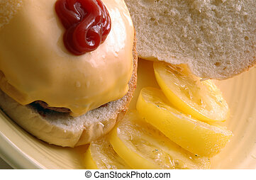 cheeseburger with tomatoes ketchup - cheeseburger with...