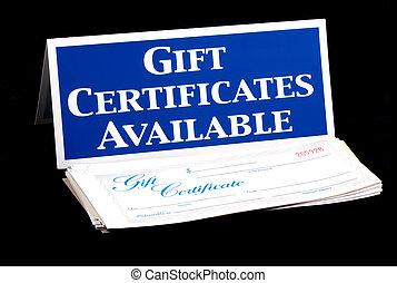 certificados, regalo