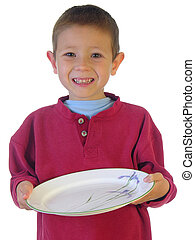 Lets Eat - Boy holding out a plate