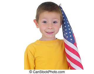 Flag Boy - Isolated boy with American flag