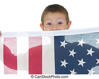 niño, bandera, dos