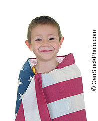 Flag Boy Three - Boy wrapped in American Flag