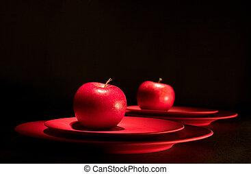 Red apple - Apple reflects in a mirrow