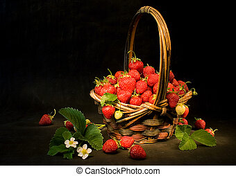 Strawberries - Basket with fresh strawberries