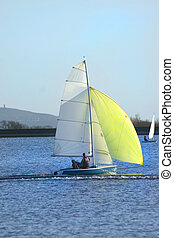 yellow spinnaker - Small yeoow yacht with yellow spinnaker