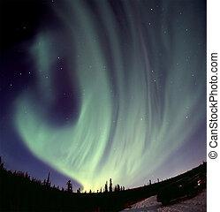 Aurora swirl over the horizon