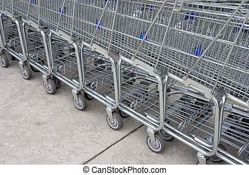 Shopping Carts 4 - A line of shopping carts nested together...