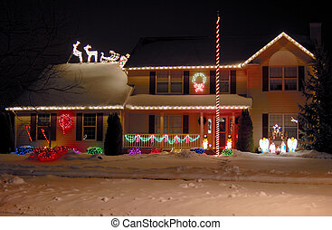 Decorative Home Christmas Lights - A house decorated with...