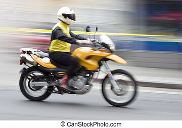 Speeding Motorcycle 1 - A speeding motorcycle with...