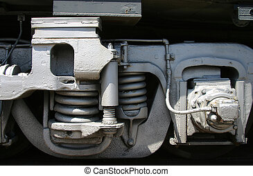 Spring Suspension - The suspension springs of a train.
