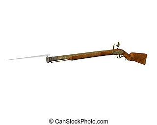 Flintlock Rifle - Isolated flintlock rifle