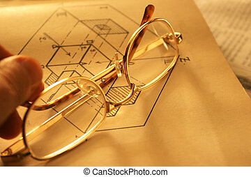 Glasses on book - Glasses on Hawkins Mechanical Drawing - a...
