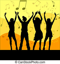Lets dance - Group of people dancing on music background