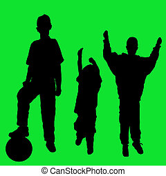 Active young boys - Silhouettes of boys in active poses