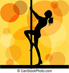 Pole dancer - Female pole dancing on retro background