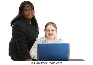 Child Teacher Laptop - Beautiful professional looking woman...
