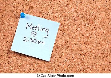 Meeting Reminder - Reminder Tacked to a Corkboard