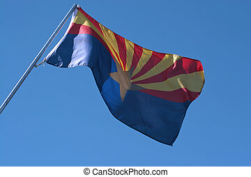 Arizona flag on blue sky