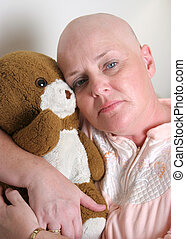Uncertain Future - A medical patient hugging a teddy bear...