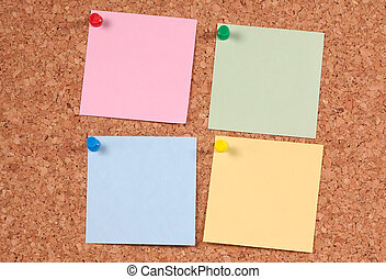 Color Postits On a Corkboard