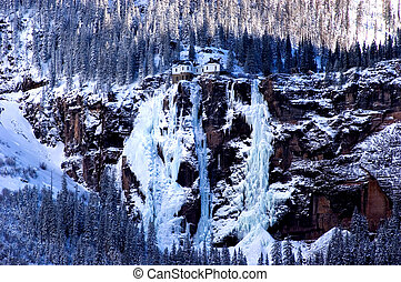 ice palace - Bridal Veil Falls and Powerhouse near Telluride...