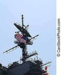 The Midway - US flag flys on the Carrier Midway