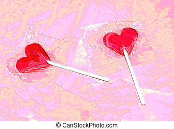 Candy love - Wrapped heartshaped Candy