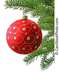Red Christmas ball on Christamas tree branch isolated on...