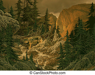 Wolf in the Rockies - Image from an original 18x24 painting...