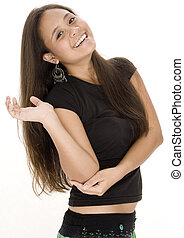 Teenager 12 - A smiling young asian woman in black poses in...
