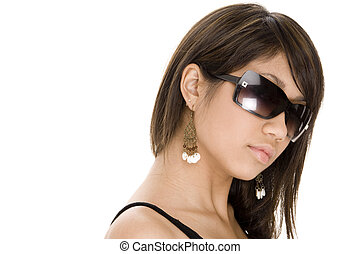 Cool 9 - A cool young woman in black sunglasses on white