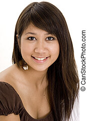 Pretty Teen 7 - A pretty young teenager in brown top on...