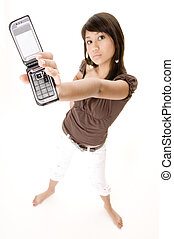 My Phone 1 - A pretty young woman holds up her clamshell...