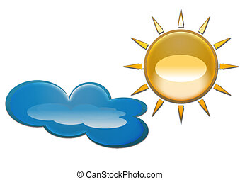 isolated sun and cloud - sun and cloud