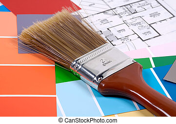Interior Design - Paintbrush with Color Chips and Plans